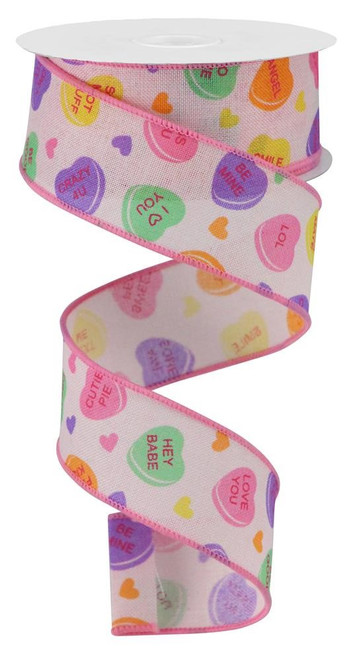 "1.5"" Conversation Heart Ribbon: Powder Pink - 10yd"