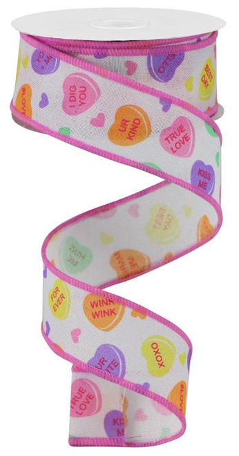 "1.5"" Conversation Heart Ribbon: White - 10yd"