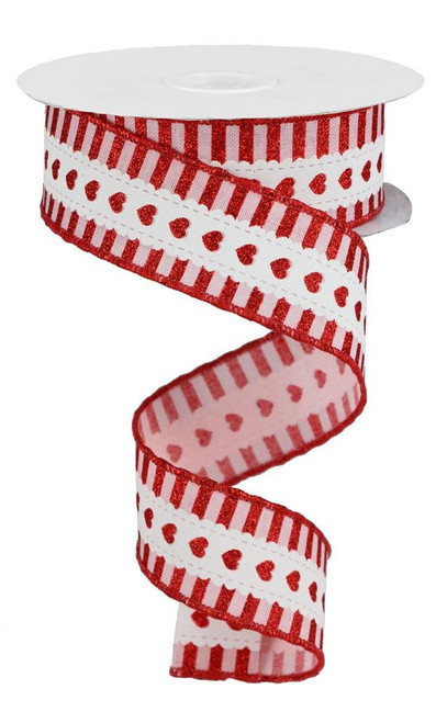 "1.5"" Lace Heart/Stripe Ribbon: Pink/White/Red - 10yd"