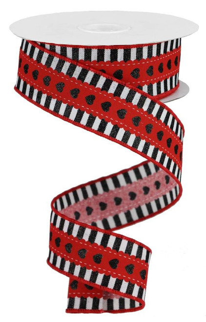 "1.5"" Lace Heart/Stripe Ribbon: Red/White/Black - 10yd"