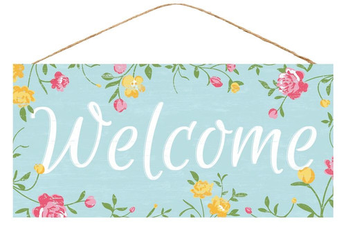 "12.5"" Welcome Floral Sign"