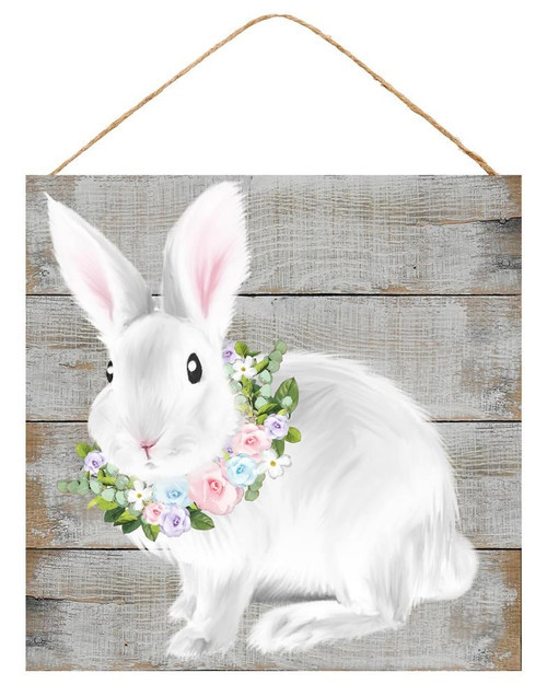 "10"" Floral Bunny Sign"