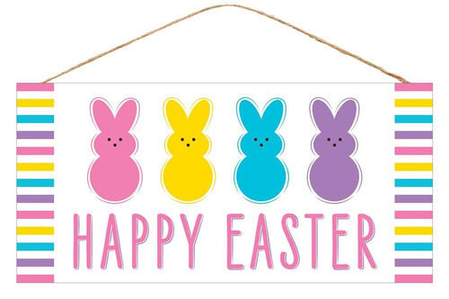 "12.5"" Happy Easter Multi Bunny Sign: White"