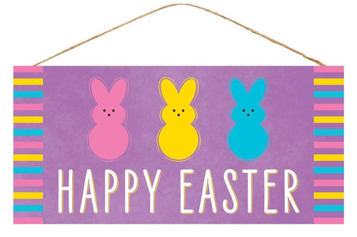 "12.5"" Happy Easter Multi Bunny Sign: Lavender"
