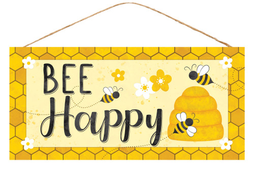 "12.5"" Bee Happy Honeycomb Sign"