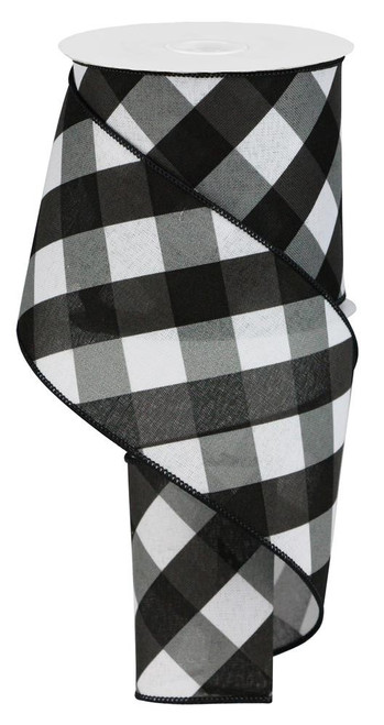 "4"" Diagonal Check Ribbon: Black/Wht/Grey - 10yds"