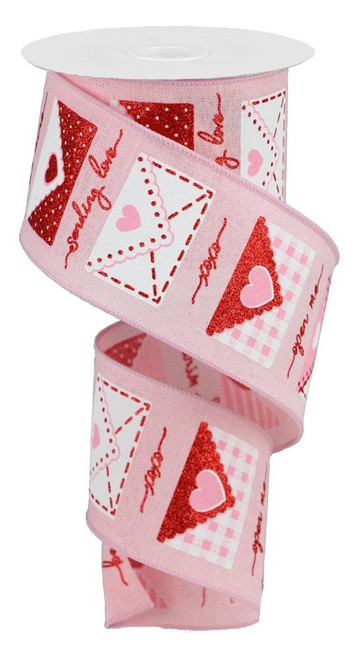 "2.5"" Love Letter Ribbon: Pink"
