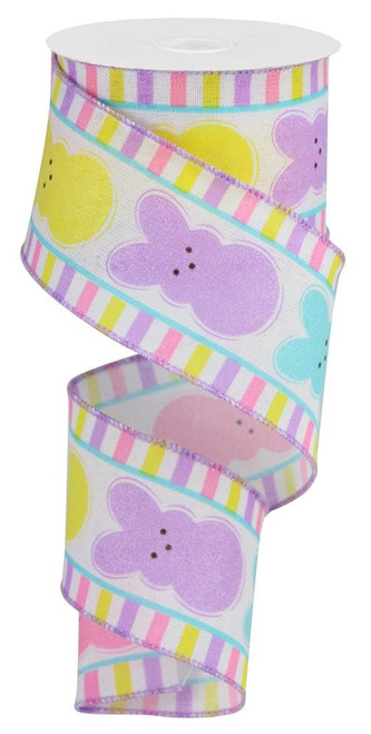 "2.5"" Glitter Sugar Bunny Ribbon: White - 10Yds"