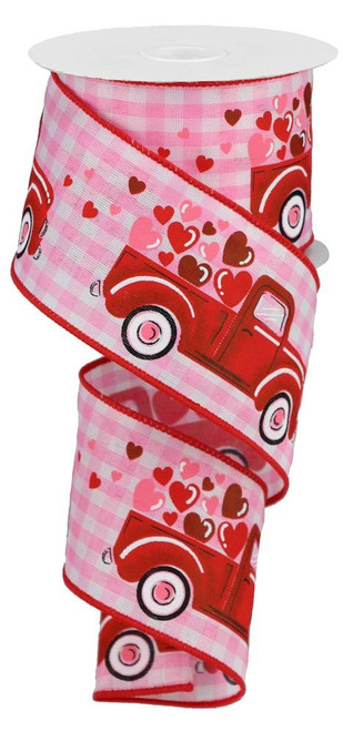 "2.5"" Truck w/ Hearts Ribbon: Pink Gingham - 10Yds"