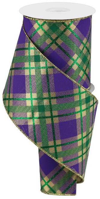 "4"" Diagonal Glitter Plaid Ribbon: Mardi Gras"