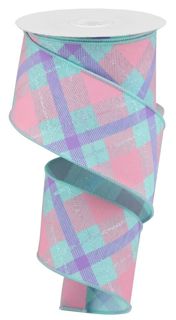 "2.5"" Iridescent Glitter Plaid Ribbon: Ice Blue/Pink/Lav"
