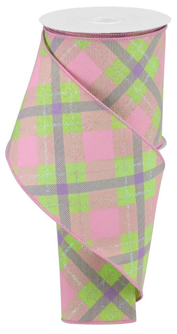 "4"" Iridescent Glitter Plaid Ribbon: Bright Green/Pink/Lav"