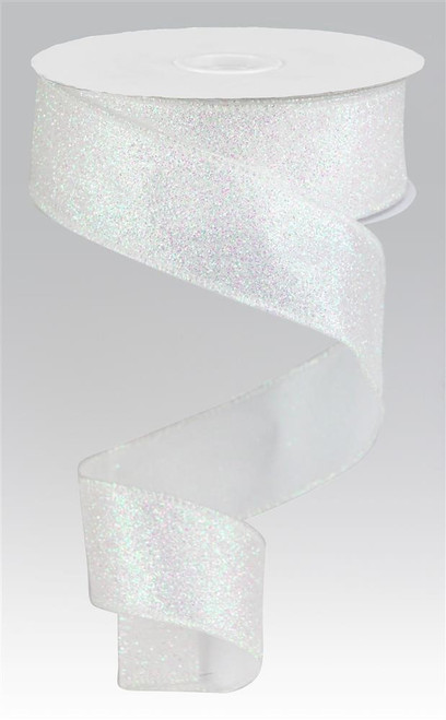 "1.5"" Iridescent Glitter Satin Ribbon: White - 10yds"