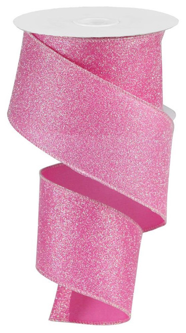 "2.5"" Iridescent Glitter Satin Ribbon: Pink - 10yds"