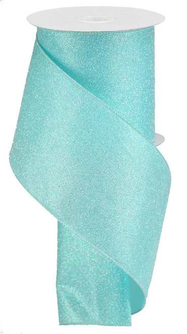 "4"" Iridescent Glitter Satin Ribbon: Robin Egg Blue - 10yds"