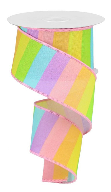 "2.5"" Horizontal Rainbow Stripe Ribbon: Pastel"