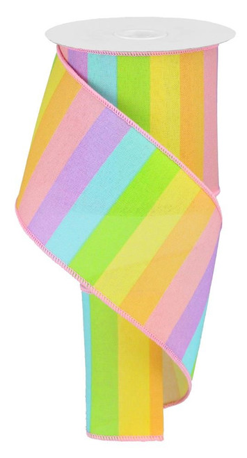 "4"" Horizontal Rainbow Stripe Ribbon: Pastel"