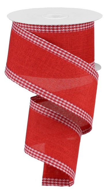 """2.5"""" Solid Linen Gingham Edge Ribbon: Red/Wht"""