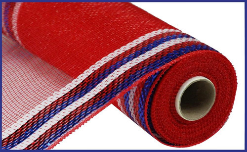 "10.5"" Metallic Border Mesh: Red/White/Blue"