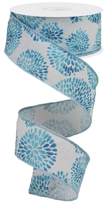 "1.5"" Color Burst Ribbon: White/Blue"