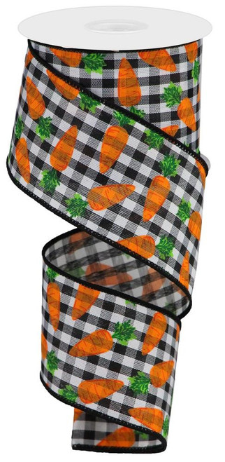 "2.5"" Carrots on Gingham Ribbon: Blk/Wht - 10Yds"