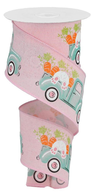 "2.5"" Truck w/ Bunny Carrots Ribbon: Pink - 10Yds"