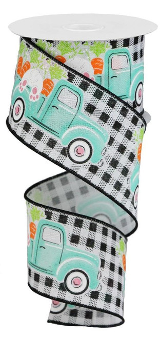 "2.5"" Truck w/ Bunny Carrots Ribbon: Blk/Wht Check - 10Yds"