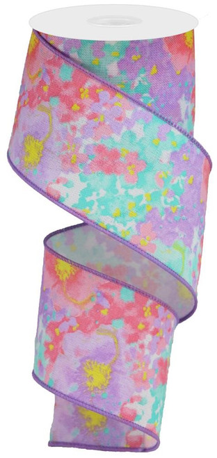 "2.5"" Painted Floral Ribbon: Wht/Pink/Lav/Yllw"