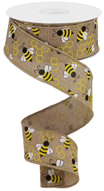 "1.5"" x 10yds Mini Bumble Bee Ribbon: Beige"