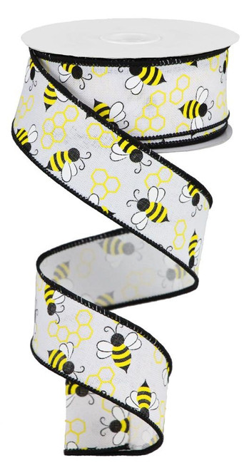 "1.5"" x 10yds Mini Bumble Bee Ribbon: White"
