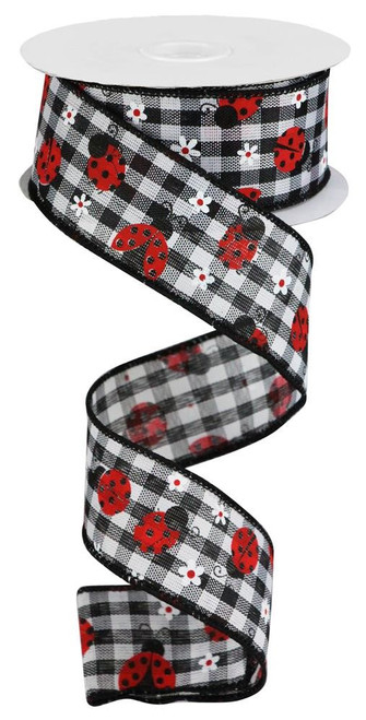 "1.5"" x 10yds Mini Ladybug Ribbon: Blk/Wht Check"