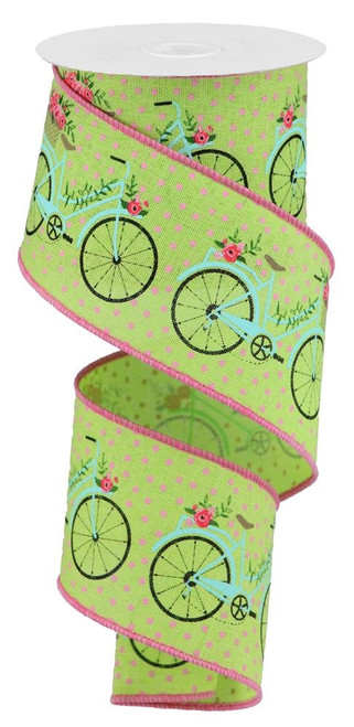 "2.5"" Bicycle Ribbon: Lime Green/Pink - 10Yds"