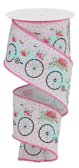 "2.5"" Bicycle Ribbon: White/Pink - 10Yds"