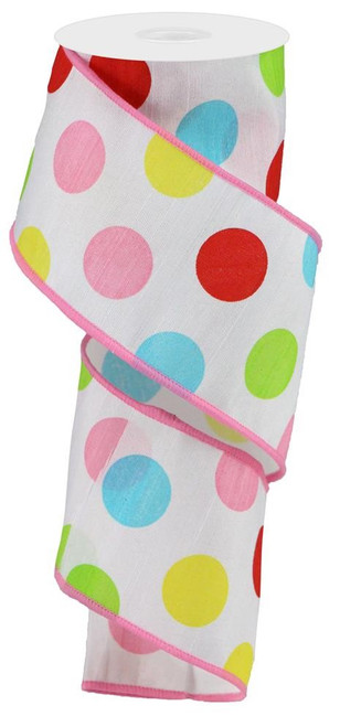 "2.5"" Multicolor Polka Dot Dupioni: Wht/Red/Pink/Grn - 10Yds"