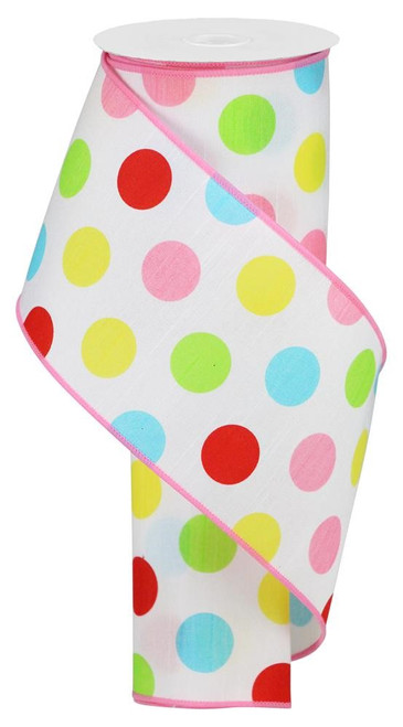 "4"" Multicolor Polka Dot Dupioni: Wht/Red/Pink/Grn - 10Yds"