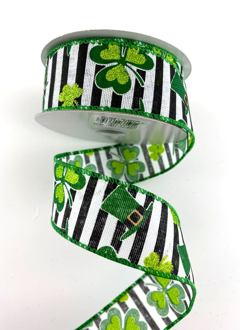 "1.5"" Black Stripe Shamrock Ribbon - 10Yds"