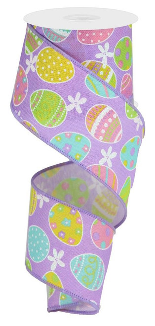 "2.5"" Linen Easter Egg Ribbon: Lavender - 10Yds"