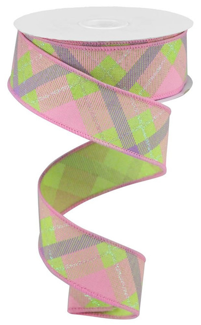 "1.5"" Iridescent Glitter Plaid Ribbon: Bright Green/Pink/Lav"