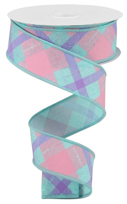 "1.5"" Iridescent Glitter Plaid Ribbon: Ice Blue/Pink/Lav"