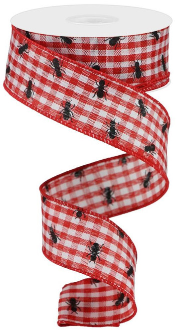 "1.5"" x 10yds Picnic Ants Gingham Ribbon: Red/Wht"