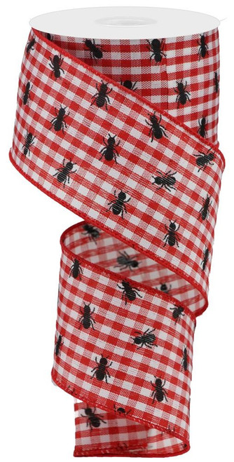 "2.5"" x 10yds Picnic Ants Gingham Ribbon: Red/Wht"