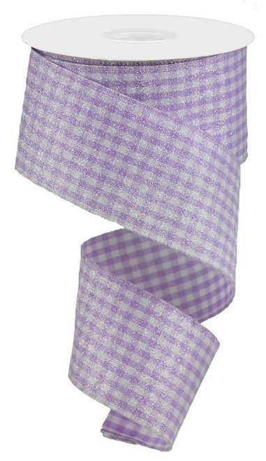 "2.5"" Glitter Gingham Check Ribbon: Lavender - 10Yds"