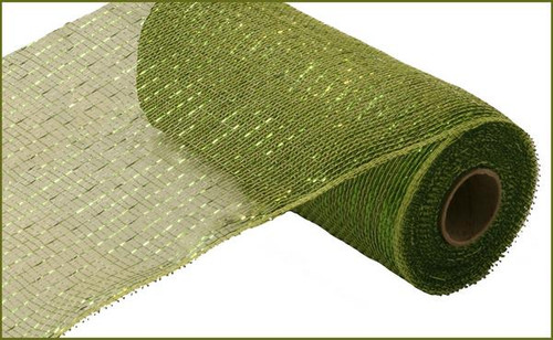 "10"" Deco Poly Mesh: Metallic Moss/Apple Green with Lime Foil"