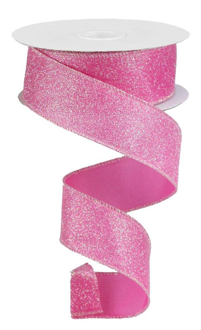 "1.5"" Iridescent Glitter Satin Ribbon: PInk- 10yds"