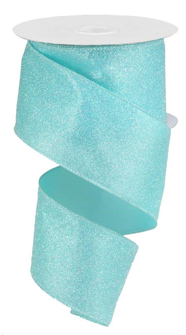 "2.5"" Iridescent Glitter Satin Ribbon: Robin Egg Blue - 10yds"