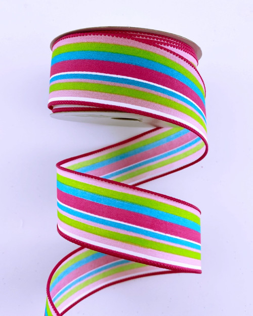 "1.5"" Bright Multi Stripe Ribbon: Fuchsia - 10Yds"