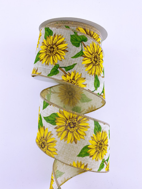 "2.5"" Nat Linen Sunflower Ribbon - 10Yds"