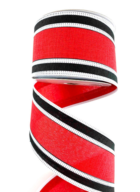 "2.5"" Red/Black Stripe Ribbon Wht Edge - 10Yds"