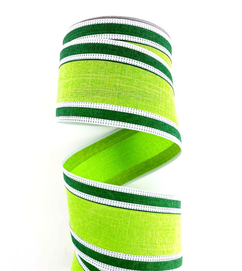 "2.5"" Lime/Emerald Green Stripe Ribbon Wht Edge - 10Yds"