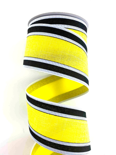 "2.5"" Yellow/Black Stripe Ribbon Wht Edge - 10Yds"